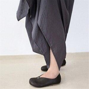 Image 5 - Johnature 2019 nowych kobiet szerokie nogawki luźna, z lenu bawełniane asymetryczne spodnie oryginalny projektant Plus rozmiar Capris elastan spódniczka z wysokim stanem
