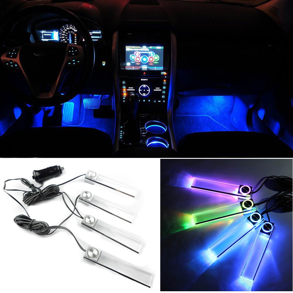 4 pcsensemble multicolore automobile lumière ambiante voiture led lumière d ambiance intérieur lumières