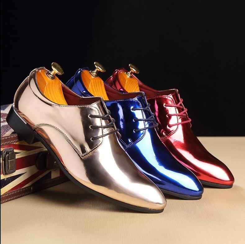 Большие размеры 37-48 модные острый носок Мужские кожаные туфли модные яркие Бизнес обувь Повседневное Свадебные износостойкая обувь