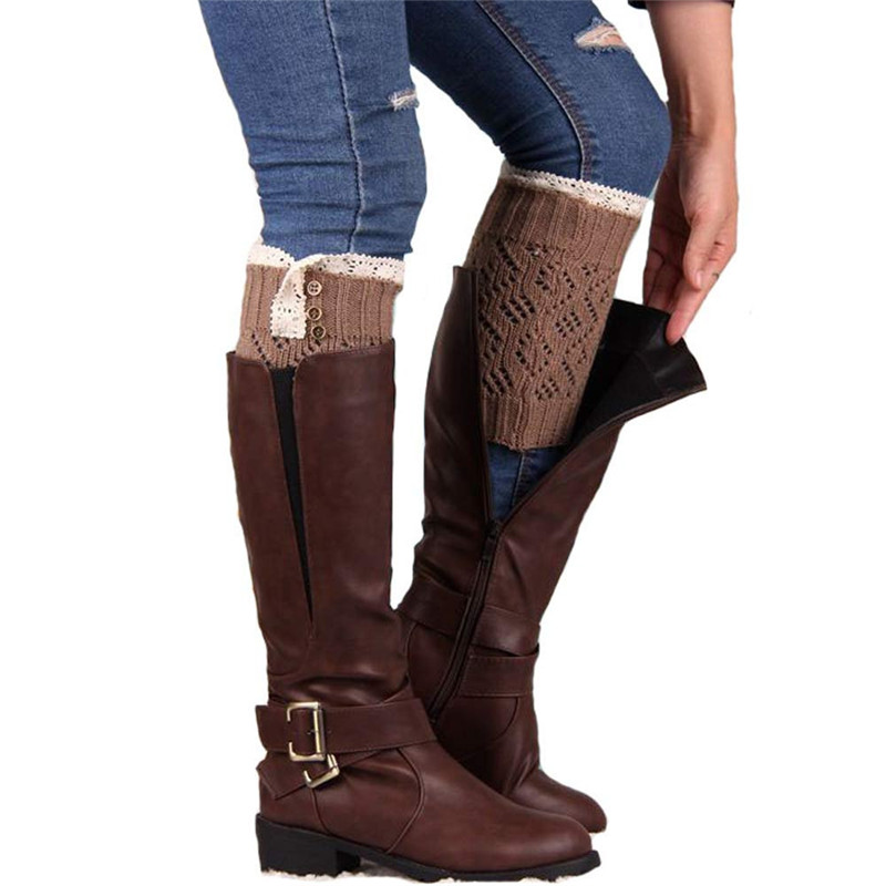 #6055 Women Lace Stretch Boot Leg Cuffs Boot Socks