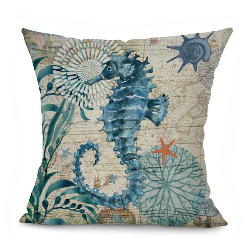 Monily Ocean Whale Pillow Cover Tortoise Crab Cushion Cover Octopus Hippocampus Decorative Throw Pillow Case Sofa Home Decor