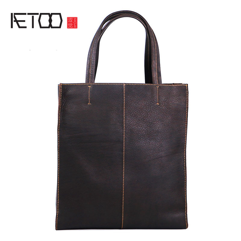 AETOO Retro Men 's Bags Cattle Porter Bugs Europe and America College Wind Casual Bag Women' s Shopping Bag japanese pouch small hand carry green canvas heat preservation lunch box bag for men and women shopping mama bag