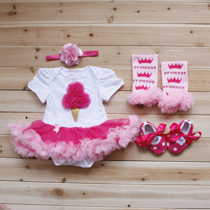 4PCs per Set Infant Lace Romper Ice Cream Hot Pink Baby Girls Tutu Dress Headband Shoes Leggings for 0-12months Free Shipping