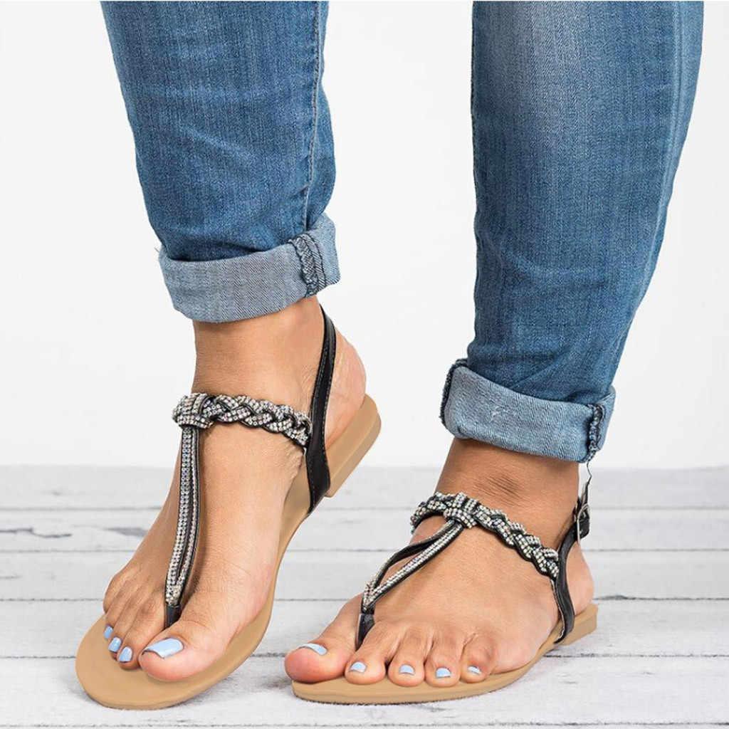 Wanita Fashion Kristal Kasual Ukuran Besar Datar Sandal Pantai Roman Sepatu Wanita Datar Bawah Pin Gesper Berlian Imitasi Sandal