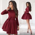 2017 Summer New Solid Women O-Neck Empire Full Sleeve Fashion A-line High Quality Women Mini Dress With Sashes