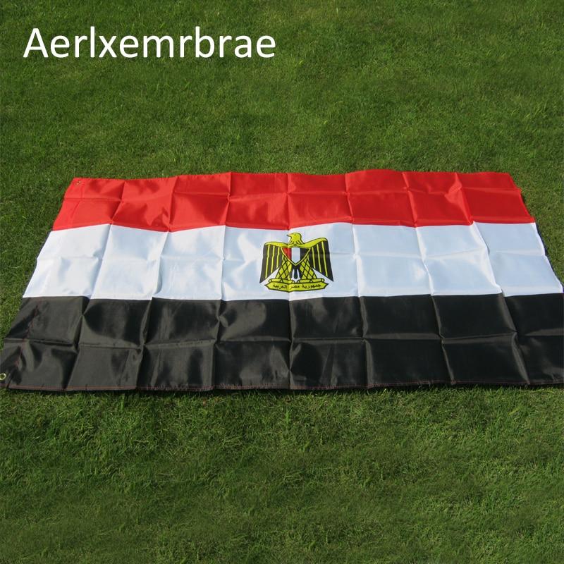 100% Wahr Freies Verschiffen Aerxemrbrae Flag150x90cm ägypten-flagge Hohe Qualität Doppelseitig Gedruckt Polyester Ägypten Flagge Entlastung Von Hitze Und Sonnenstich