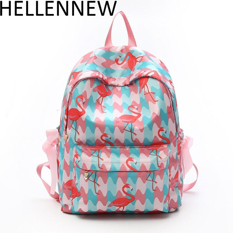 Hellennew Fashion Backpacks Brand Women Bag Cute Flamingo Printing Backpack For Teenage Girls Laptop School Bags Mochila 8015