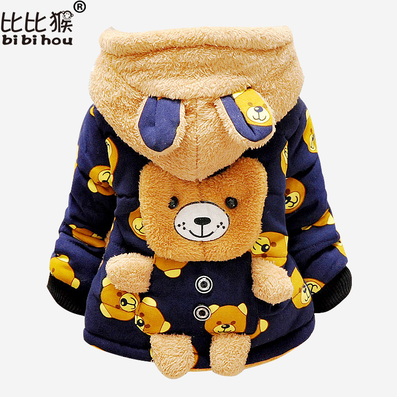 2017 Winter Cartoon Bear Jacket For Girls Boys Kids Winter Keeping Warm Cotton Hoodies Coat Children Casual Outerwear Clothing