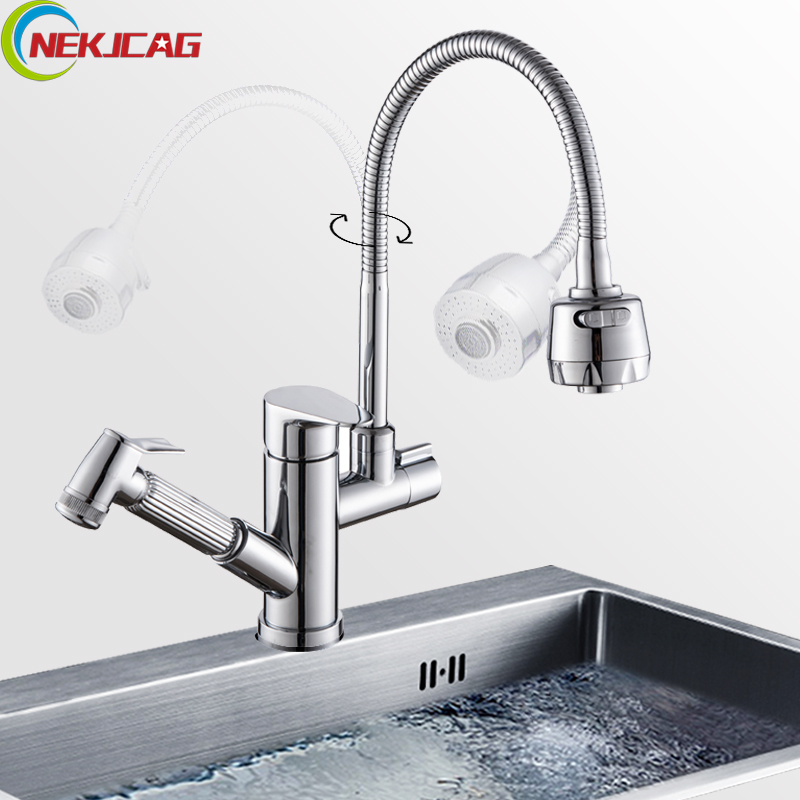 Stream Sprayer Kitchen Faucet Single Handle Dual Spout Pull Out Sprayer Hand Spanner Flexible Rotation Hose
