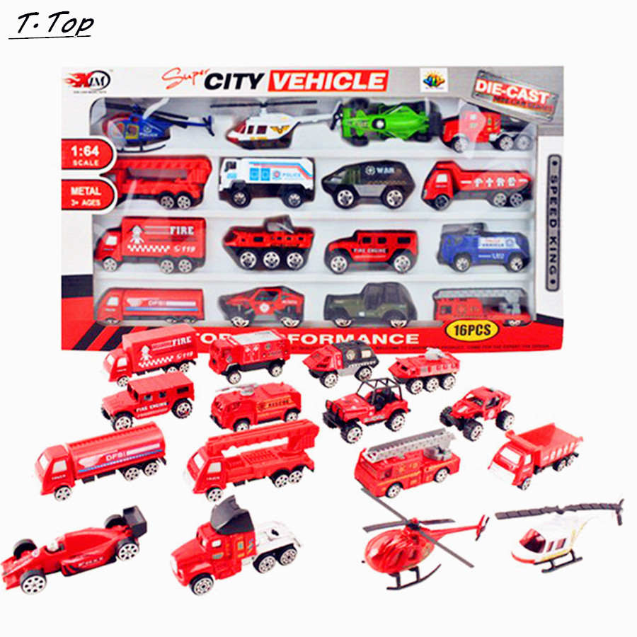 16pcs a set 164 colored kinds diecast mini alloy educational small car toy model
