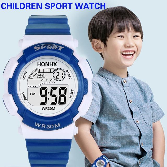 Fashion Child Digital LED Watch Analog Quartz Alarm Date Sports Wrist Watch For