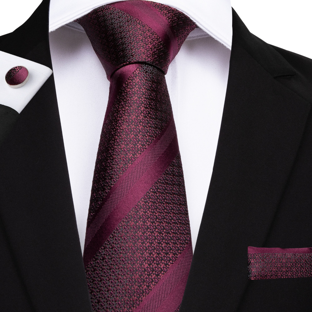 DiBanGu New Arrival Men's Ties 8cm Red Wine Silk Polyester Tie Casual Fashion Wind Of England Married Wedding Neckties MJ-7168