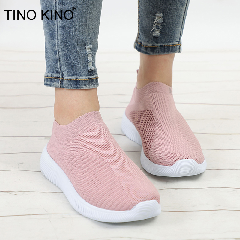 Women's Sneakers Flat Knitting Autumn Mesh Shoes 2019 New Plus Size Female Vulcanized Ladies Slip On Breathable Casual Footwear(China)