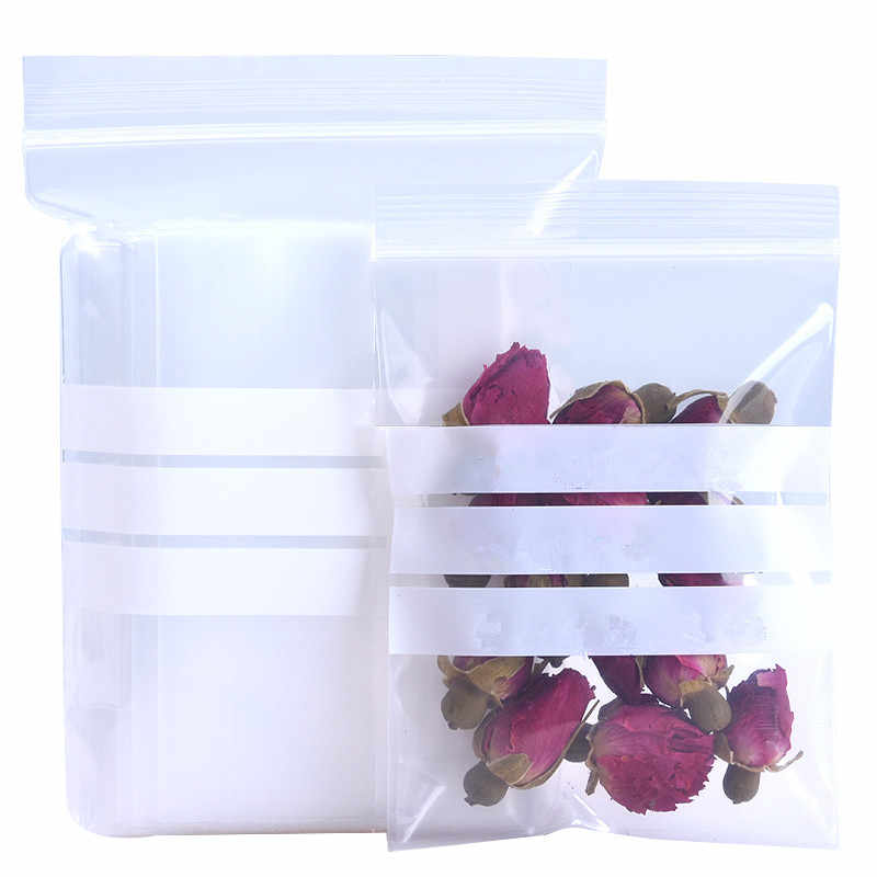 100Pcs/lot 16 Sizes Plastic Clear Zip Lock Packaging Bag with Writable White Line Dried Flower Retails Storage Zipper Pack Pouch