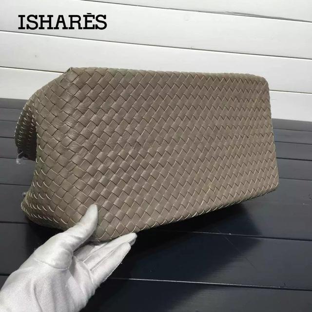 ISHARES sheepskin parachute pack genuine leather handbags brand designer knitting casual totes woven shoulder bag IS222322