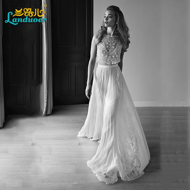 bf898405993 2017 Lihi Hod Two Pieces Wedding Dress Sweetheart Cap Sleeve Pearls Beading  Lace Chiffon Boho Bohemian Beach Wedding Gowns