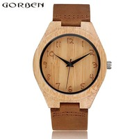 Gorben Brand Natural Handmade Wooden Watch Male Simple Quartz Watches Men Cow Leather Band Strap Wood