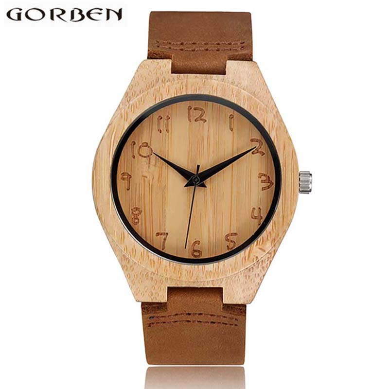 Casual Simple Design Genuine Leather Band Strap Bamboo Wood Watch Brown Analog Quartz Wrist Watch For Men With Gift Box orkina round genuine leather band analog quartz wrist watch for men brown