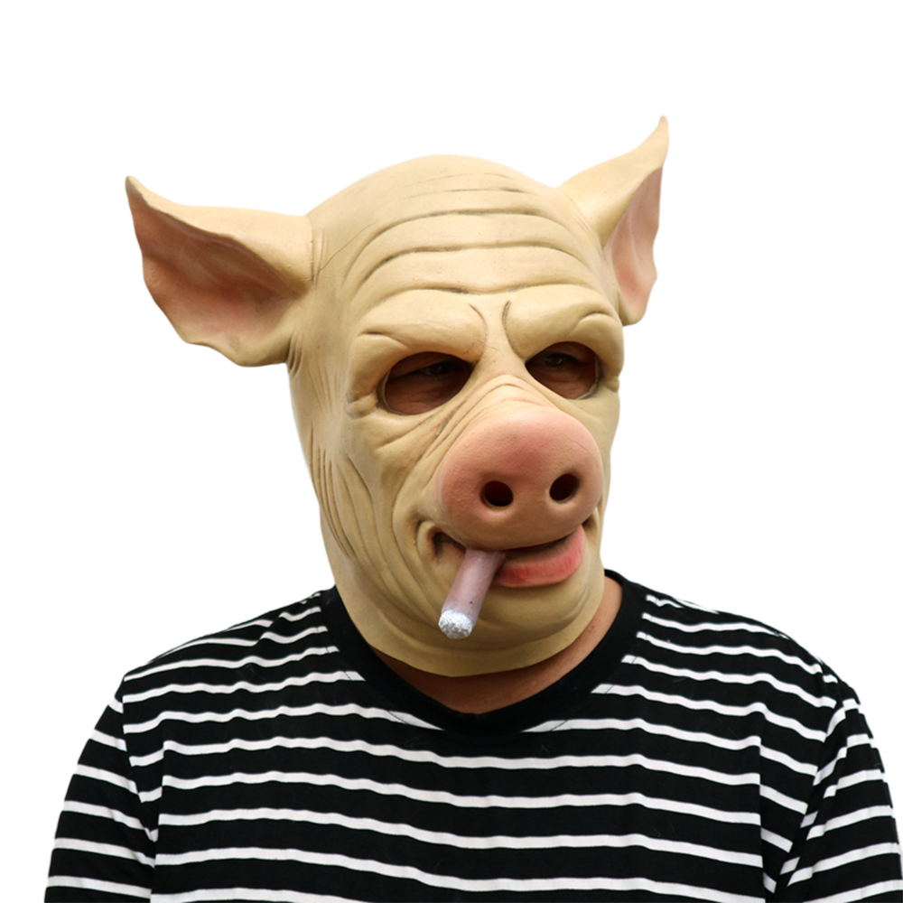 Halloween Cosplay Latex Mask Costume Fancy Cool Pig Mask Masquerade Mask for Adults Party Halloween Patry Cosplay Props