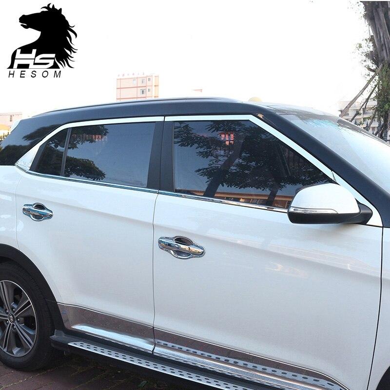 Prix pour Pour Hyundai ix25 Creta pleine fenêtre garniture couverture décoration Extérieur en acier Inoxydable produits accessoire 2015-2017 Chrome Styling