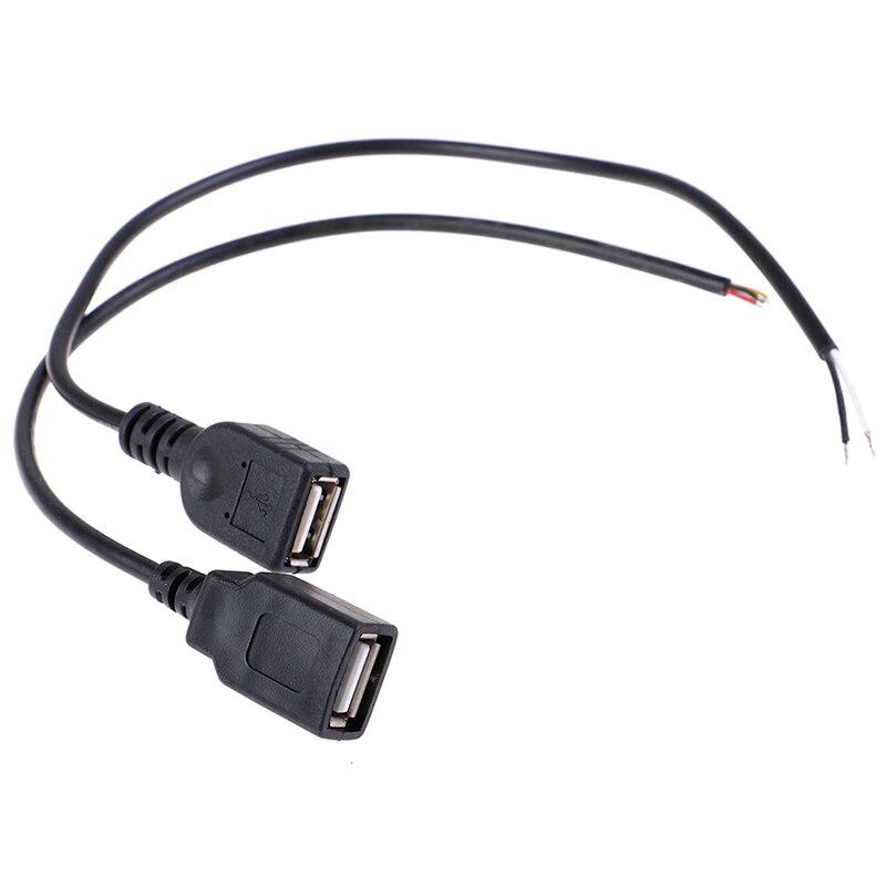 1pc 26cm 30cm USB 2.0 Female Plug Jack Power Cable 2Pin 4Pin Black Charging Data Line Connector DIY Parts