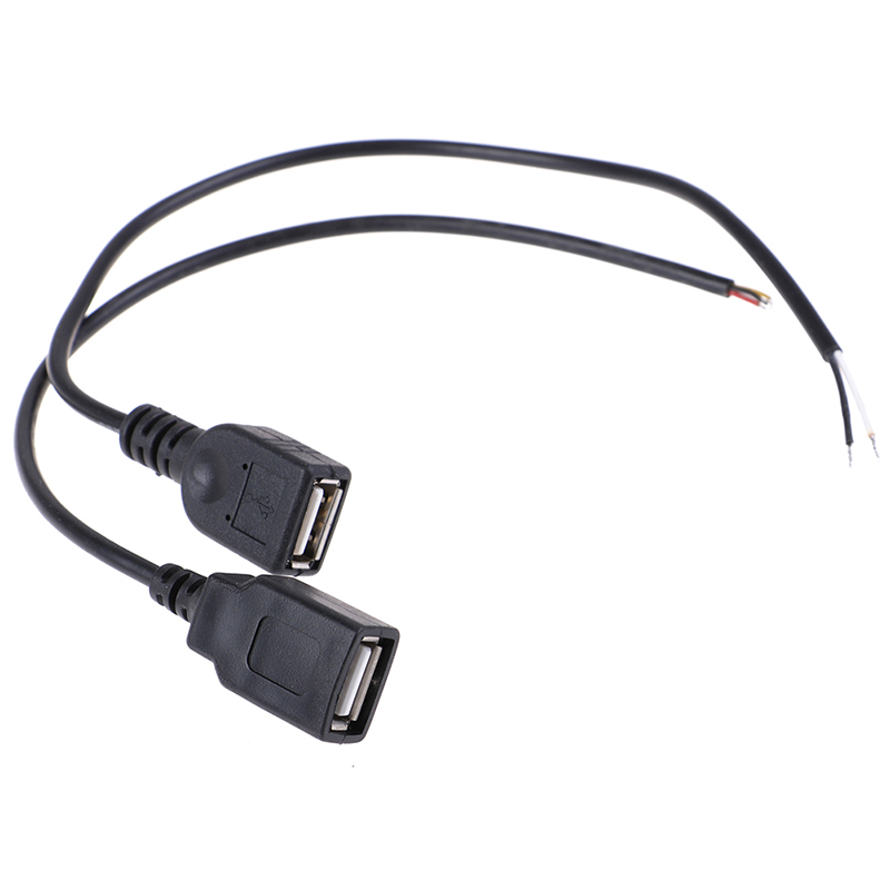 1pc 26cm 30cm USB 2.0 Female Plug Jack Power <font><b>Cable</b></font> 2Pin <font><b>4Pin</b></font> Black Charging Data Line Connector DIY Parts image