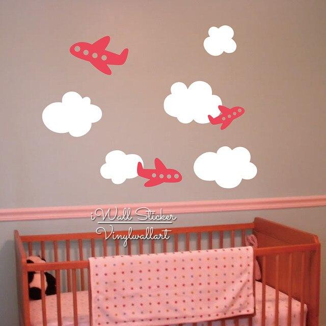 Baby Nursery Clouds Airplane Wall Sticker Cartoon Clouds Plane Wall Decal  Children Room Wall Sticker Kids Decors Cut Vinyl N45
