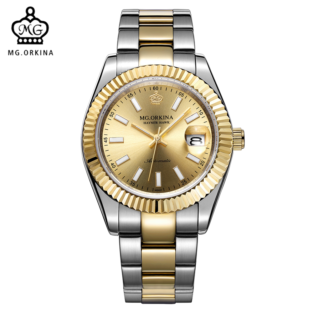 MG. ORKINA Male Clock Luxury Sapphire Crystal Window Men Watches Auto Date Automatic Mechanical Watch Relogios Masculinos