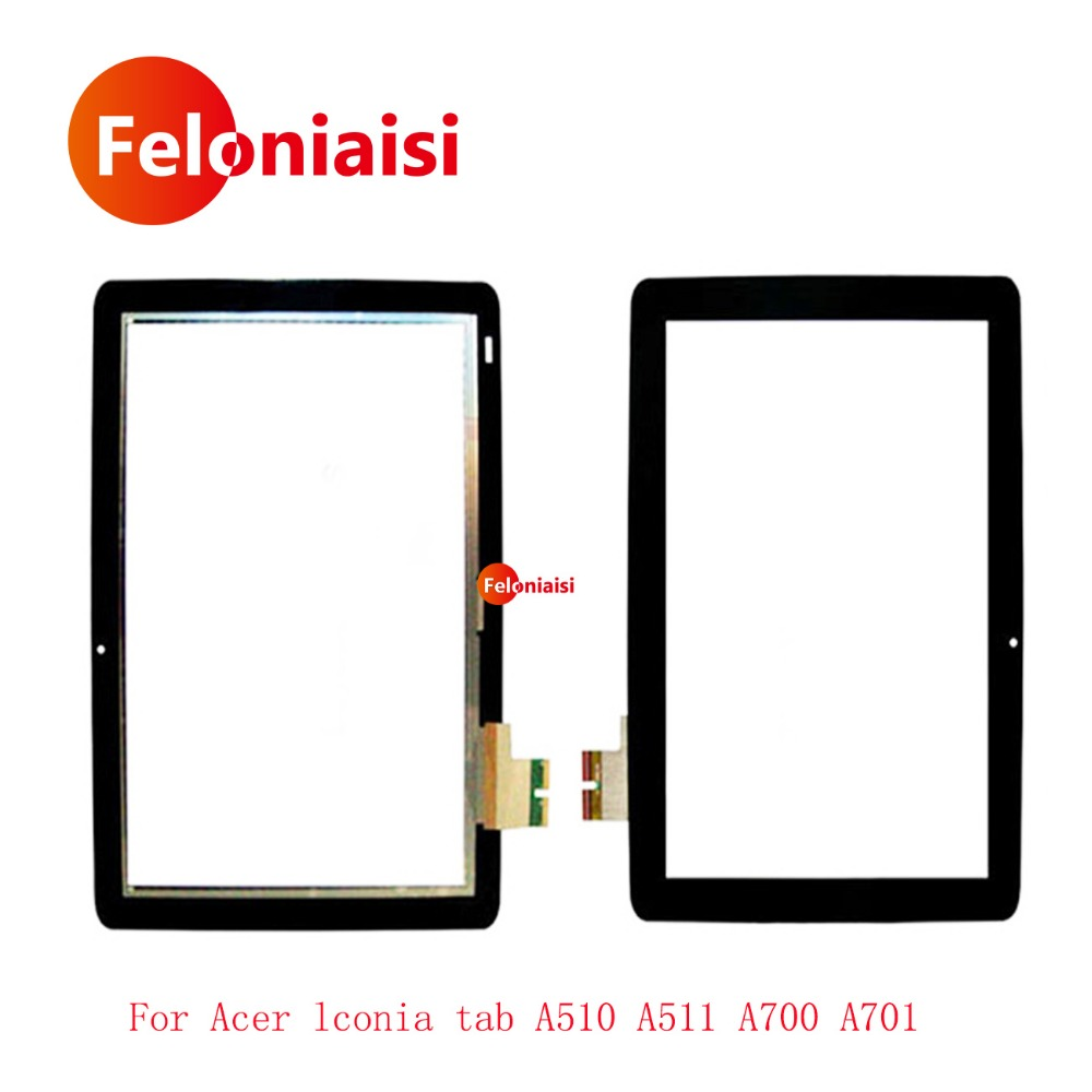 10Pcs/lot 10.1 For Acer iconia tab A510 A511 A700 A701 69.10I20.T02 V1 Touch Screen With Digitizer Panel Front Glass Lens for acer iconia tab a500 a501 a510 a511 a700 10 1 inch 360 degree rotating universal tablet pu leather cover case