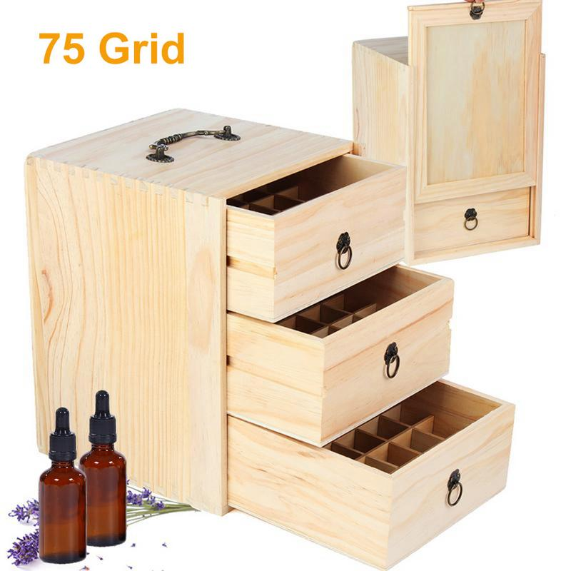 75 Grid Wooden Drawer Storage Essential Oil Box Detachable SPA YOGA Club Aromatherapy Natural Wood Bottle