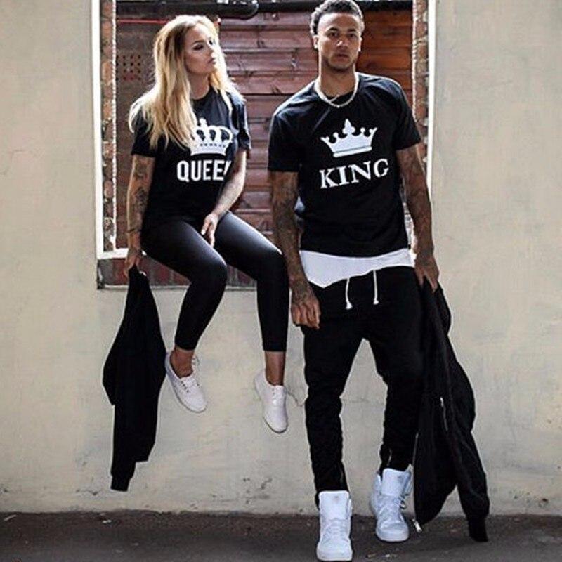 2018 новый король королева с принтом букв черные футболки 2018 omsj Лето Повседневное хлопок короткий рукав Футболки-топы брендовые свободные пару Топы корректирующие