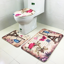 3 teile/satz Komfortable Europäischen stil toilette korallen samt teppich gedruckt Paris turm badematte badezimmer druck korallen teppich 4 farben