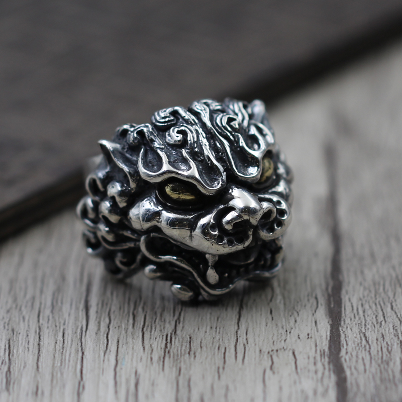 The Thai men carved Tonlion S925 Sterling Silver Ring Ring retro exaggerated personality thai silver ring retro unique exaggerated domineering kamen rider s925 sterling silver ring men