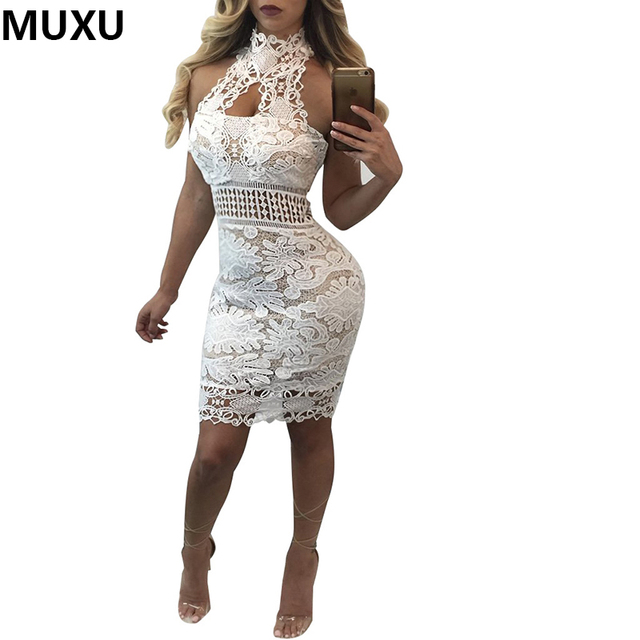 MUXU sexy backless summer dress party women lace dress white lace mesh  crochet floral womens clothing 95af213bd04c