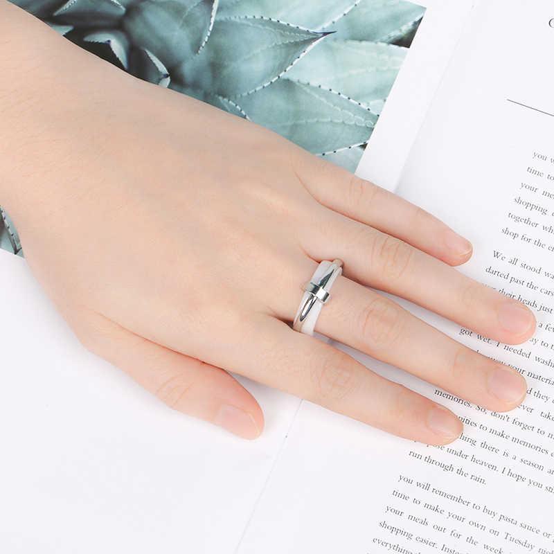 Elegant ผู้หญิงผู้ชายแหวนสแตนเลสผู้ชายแหวนไม่เคยเลือนเซรามิคเครื่องประดับ