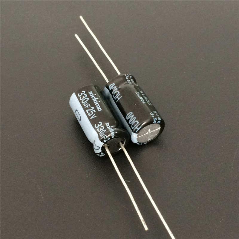 10pcs 330uF 25V NICHICON HD Series 8x15mm Super Low Impedance 25V330uF Aluminum Electrolytic Capacitor