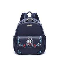 Doulaimi женский, черный рюкзак высокое качество из искусственной кожи Mochila для девочек-подростков силуэт гирлянды вышивка цветок школьные сумки