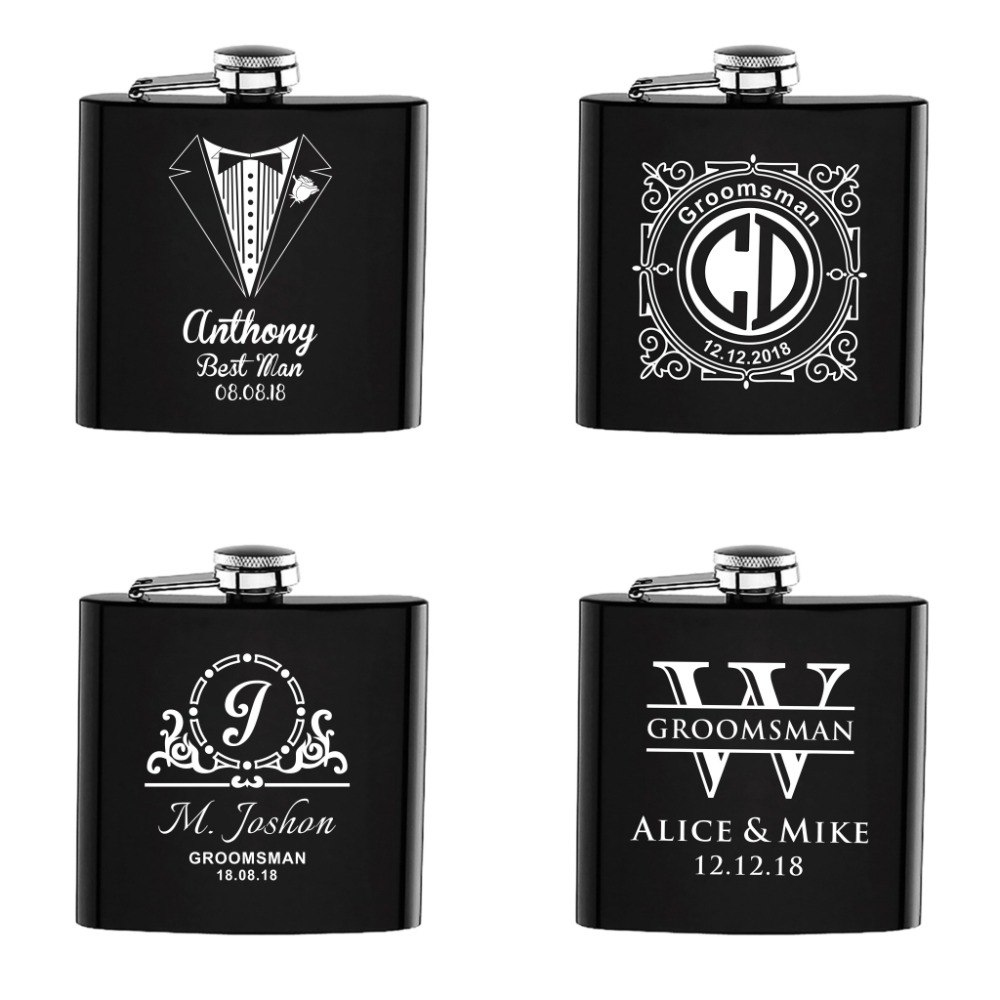4PCS Personalized Engraved Black 6oz Hip Flask Stainless Steel BestMan Groom Customized Logo Wedding party Gift Favors4PCS Personalized Engraved Black 6oz Hip Flask Stainless Steel BestMan Groom Customized Logo Wedding party Gift Favors