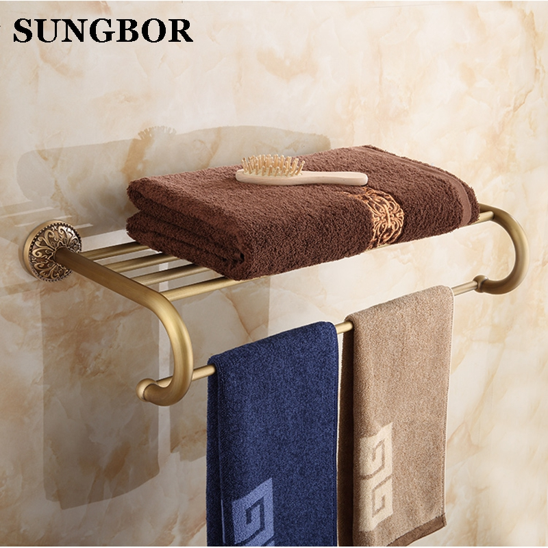European style Antique Brass Wall Mount Bath Towel Rack Bathroom Towel Holder Double Towel Shelf Bathroom Accessories ZL-8112 nail free foldable antique brass bath towel rack active bathroom towel holder double towel shelf with hooks bathroom accessories