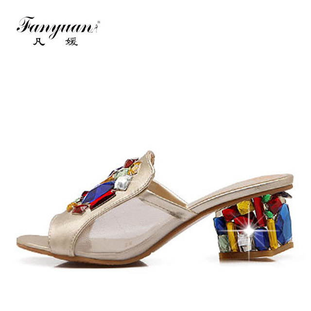 fa45c76dbc89e Fanyuan Stylish Design Peep Toe Ladies Party Wear Shoes Strange Style  footwear Mixed Colors crystal ladies high heels Slippers