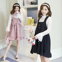 6006 2018 Весна Новая версия кружева и Вельветовая юбка комплект из двух предметов