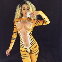 Women New 3D Printing Tiger Party Stage Wear Costume DJ DS Singers Performance Jumpsuit Sparkling Crystals Bodysuit Bling Outfit