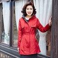 Xl-5Xl Mujeres de Gran Tamaño de Primavera Gabardina Otoño Resorte de la Manga Larga Delgada Fit Trench Coat Para Las Mujeres A3039