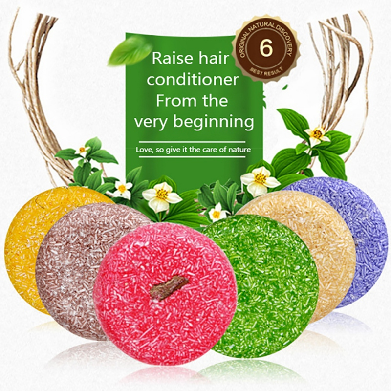 6PCS/Set Handmade Pure Plant Hair Shampoos Antidandruff Relieve Itching Soften Hair Shampoo Soap For Dry Damaged Hair Care image