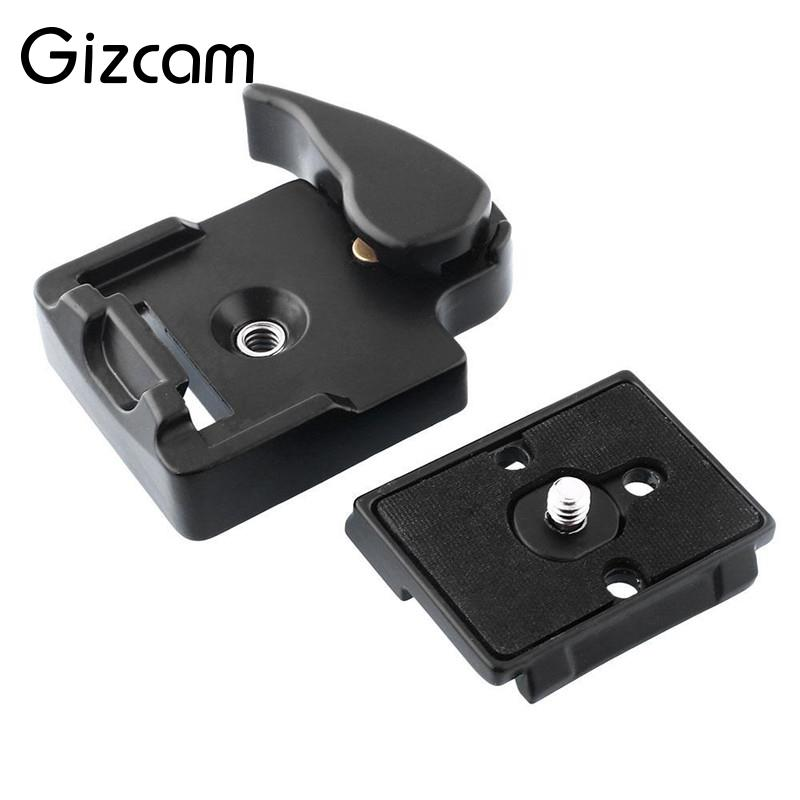 Gizcam Tripod 323 Quick Release Clamp Adapter With 200PL-14 QR Plate Rectangular Tripod Accessories Aluminium Material Black