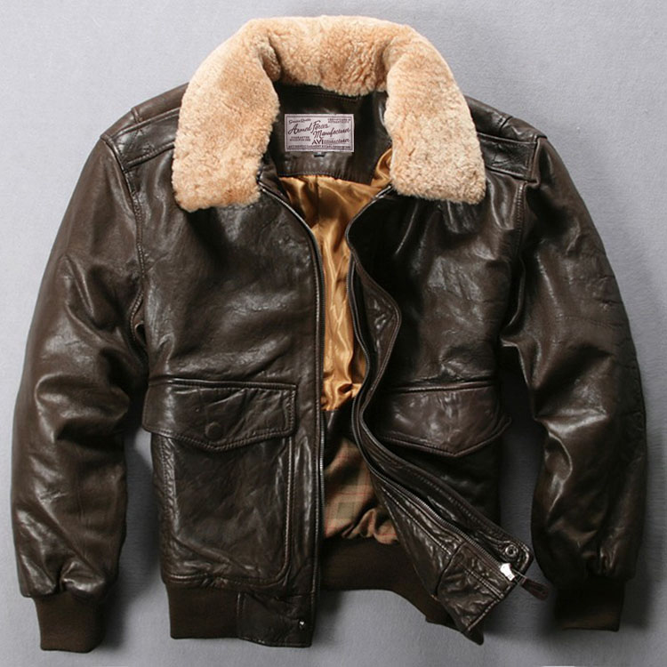 Coat Jacket Sheepskin Avirex Air-Force Black Male Winter Genuine-Leather Brown Fur-Collar
