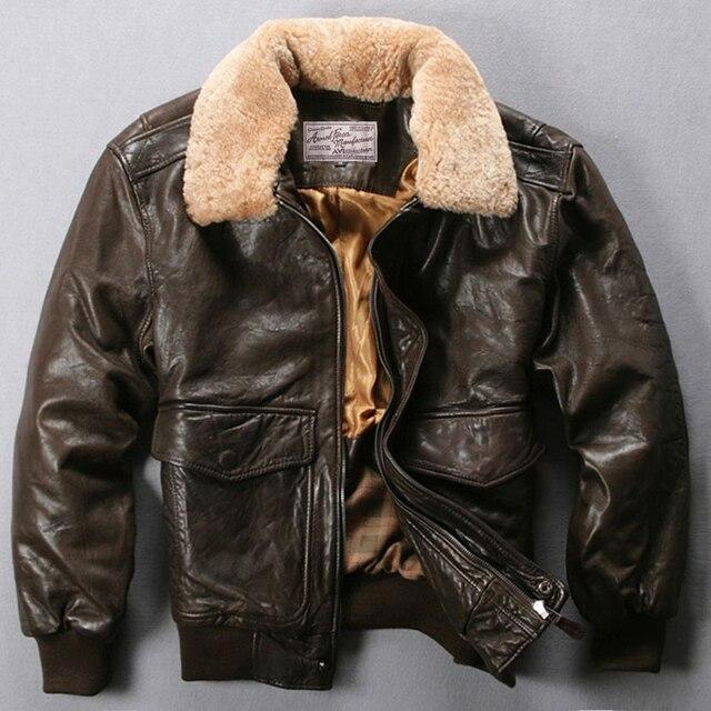 Avirex Chaqueta de vuelo de la Fuerza Aérea para hombre, chaqueta de cuero genuino con cuello de piel, abrigo de piel de Oveja Negra y marrón, chaqueta Bomber de invierno