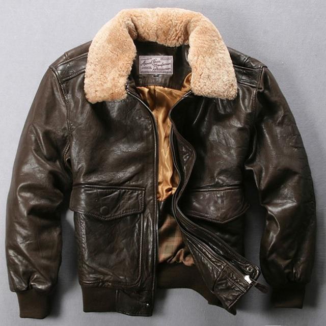 778f1953f87 Avirex Fly Air Force Flight Jacket Fur Collar Genuine Leather Jacket Men  Black Brown Sheepskin Coat Winter Bomber Jacket Male