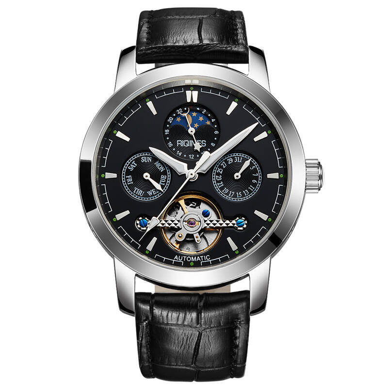 RIQINES Moon phase automatic mechanical watch men's steel watch skeleton men's waterproof business luminous Tourbillon watch guanqin luxury watch men moon phase waterproof luminous watch automatic stainless steel tourbillon mechanical wristwatches gifts