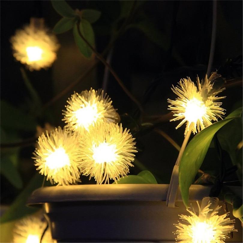 Trecaan Solar Holiday LED Garlands String Lights 50LED Snowball Outdoor Garden Light Flakes Snow Ball led Strings Fairy Lights